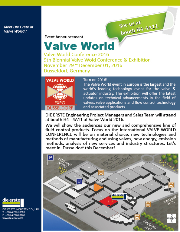 Valve World 2016</p> - DIE ERSTE INDUSTRY CO , LTD